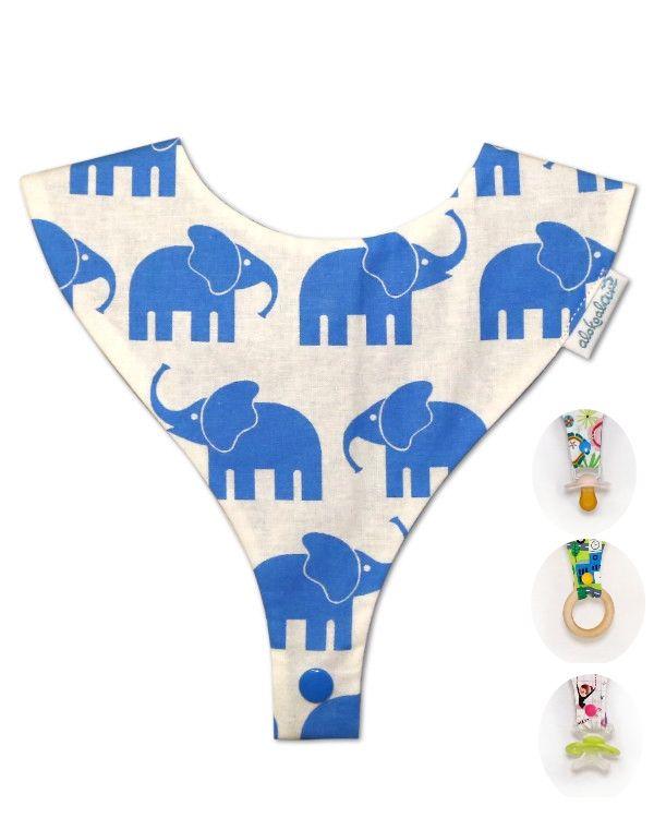 babochupe, babero porta chupete alokoala elefantes azul