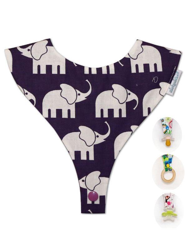 babero porta chupete, babochupe alokoala elefantes morado