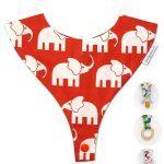 babero porta chupete, babochupe alokoala elefantes rojo
