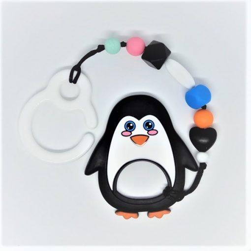 mordedor de silicona para la dentición con gancho para el carrito, gracioso pingüino