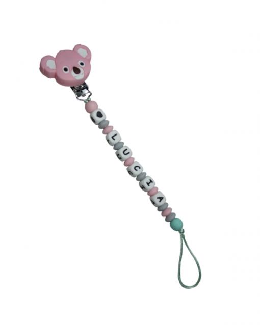 chupetero personalizado alokoala koala rosa