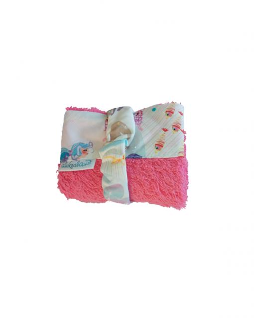 toallita convertible en babero sirenas rosa alokoala