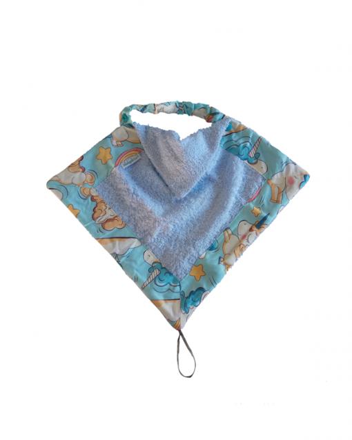 toallita convertible en babero y porta chupete - alokoala - unicornios azul