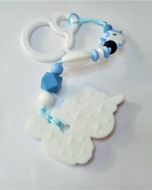 mordedor silicona Alokoala - dulce unicornio azul - detrás