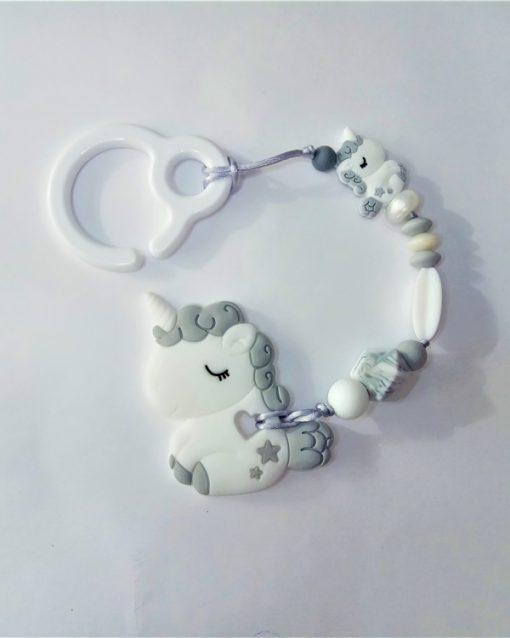 mordedor silicona Alokoala - dulce unicornio gris