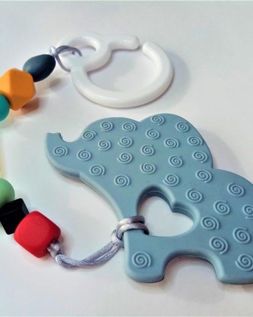 mordedor silicona Alokoala - elefante indio gris - detrás