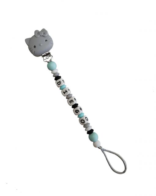 chupetero personalizado alokoala kitty gris
