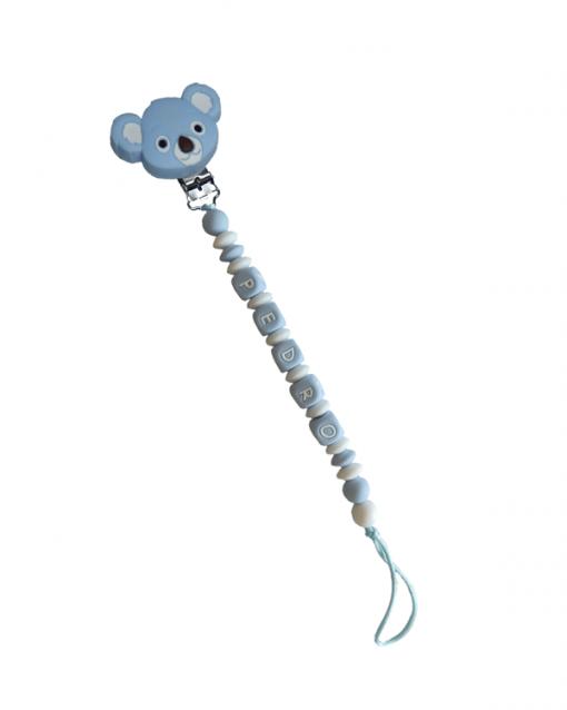 chupetero personalizado con letras azules y pinza koala azul