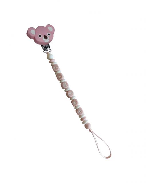 chupetero personalizado con letras rosas y pinza koala rosa