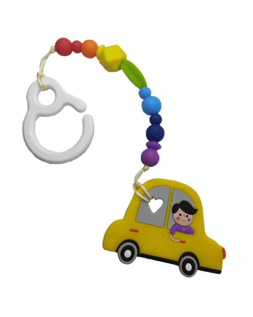 Mordedor silicona con gancho alokoala coche amarillo