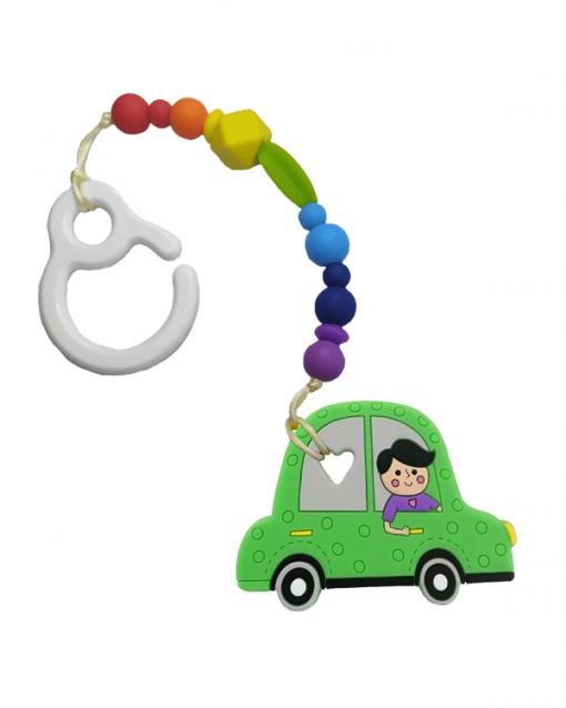 Mordedor silicona con gancho Alokoala coche verde